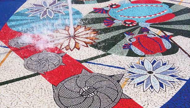 Aplicación de mosaicos en exteriores