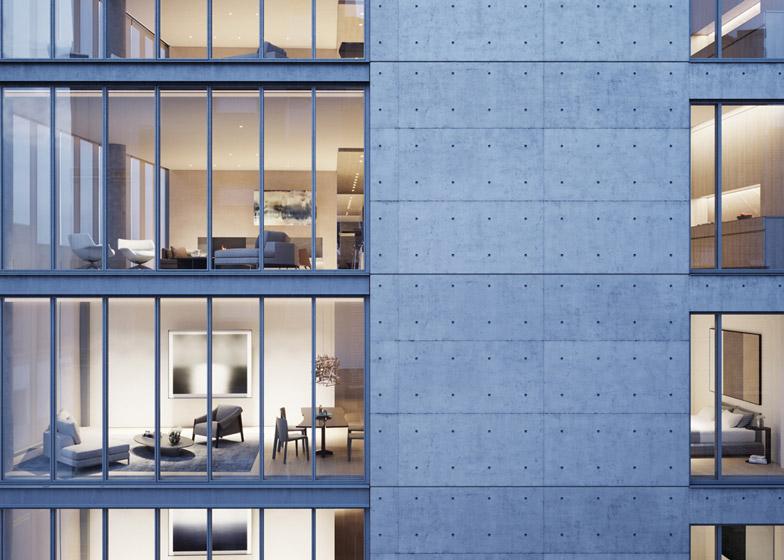 Fachada de concreto y cristal